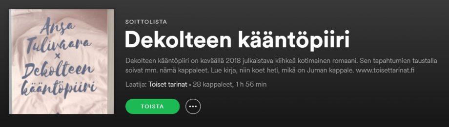 Kirjalla on nyt oma Spotify-lista!